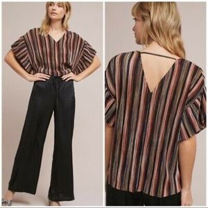 NEW Vanessa Virginia Striped Ruffle Top Medium